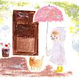 猫とピンクの傘